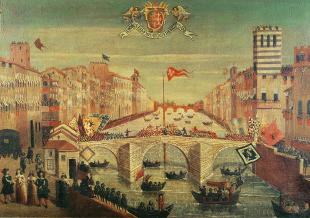 Detail of Il Gioco del Ponte dei Pisani by Italian School