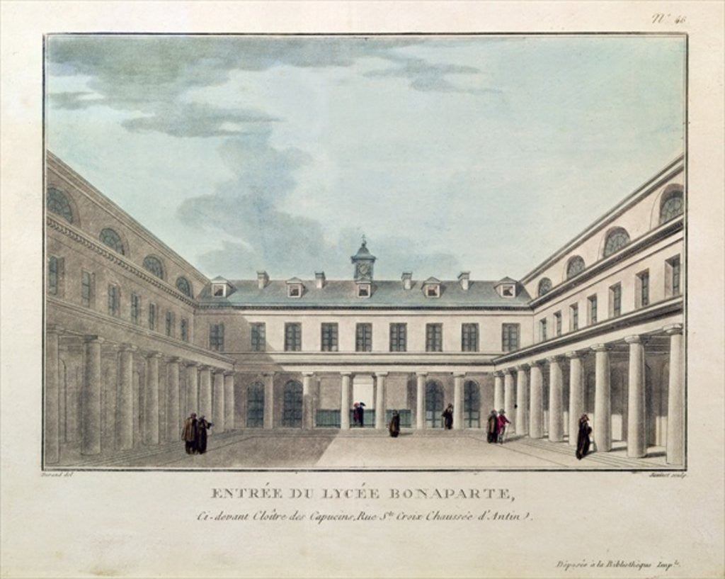 Entrance to the Lycee Condorcet, engraved by Janinet by Durand
