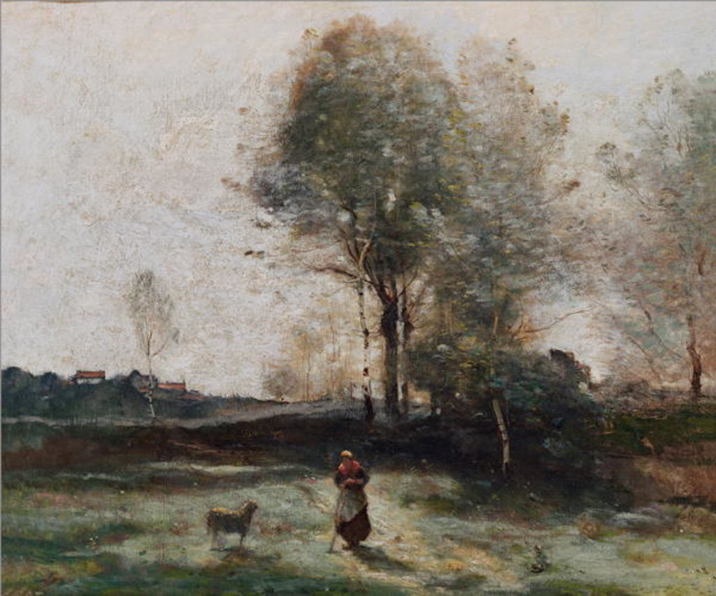 Detail of Landscape or, Morning in the Field by Jean Baptiste Camille Corot