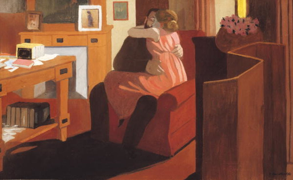 Detail of Intimacy, Couple in an Interior with a Partition by Felix Edouard Vallotton