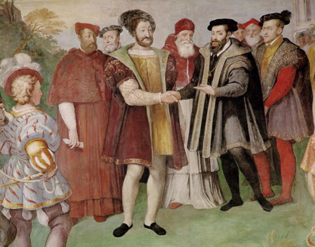 The Truce of Nice between Francis I and Charles V from the 'Sala del Consiglio Trento' by Taddeo & Federico Zuccaro