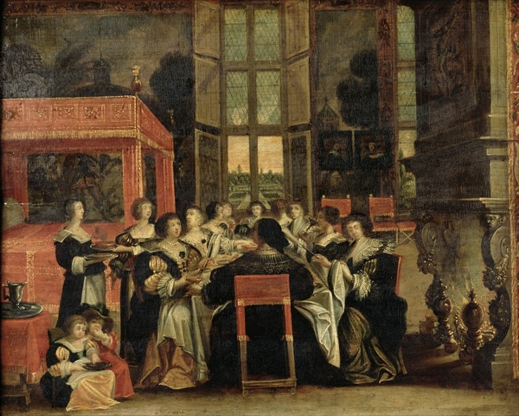 Detail of A Conversation Between Women, also said Women at lunch by Abraham Bosse