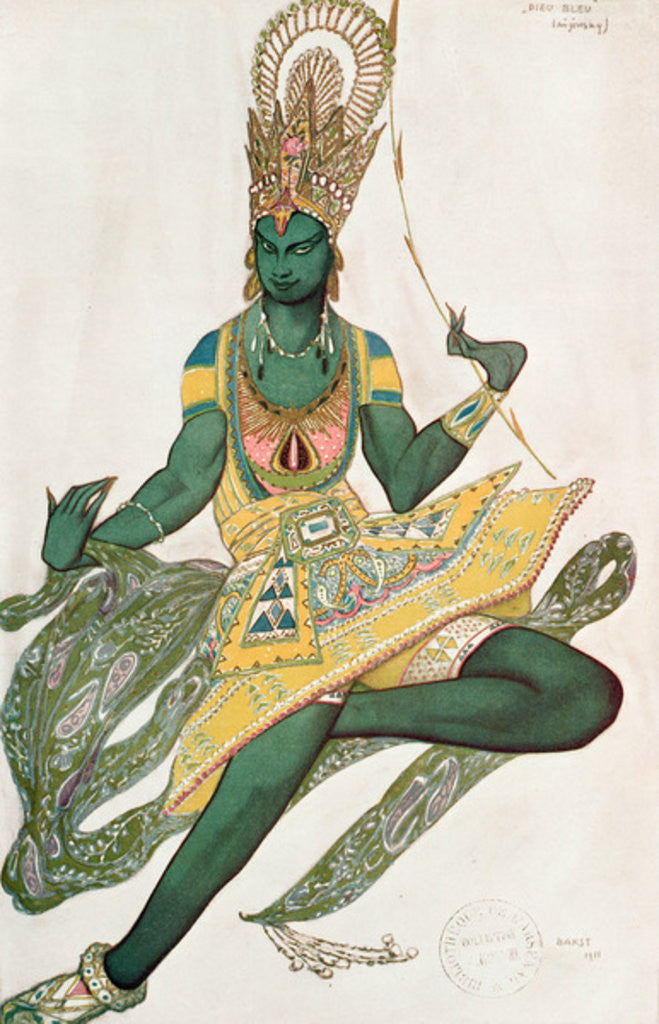 Detail of Costume design for Nijinsky for his role as the 'Blue God' by Leon Bakst