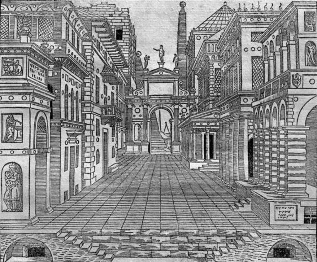 Detail of Set design for a tragic scene by Sebastiano Serlio