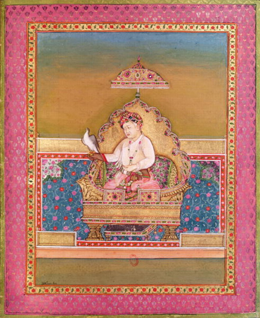 Detail of Akbar from an album of portraits of Mughal Emperors at Delhi by Indian School