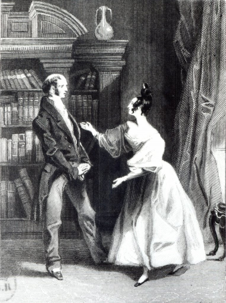 Detail of 'She then told him what Mr Darcy had voluntarily done for Lydia. He heard her with astonishment' by George Pickering