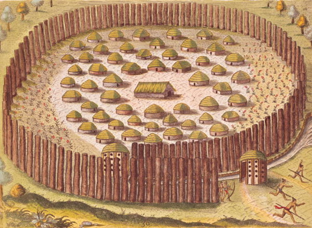 Detail of Fortified Indian Village by Th.