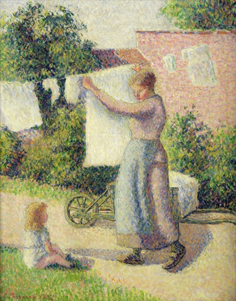 Detail of Woman Hanging up the Washing by Camille Pissarro