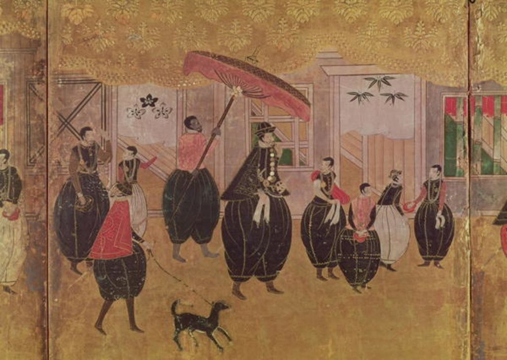 Detail of St. Francis Xavier and his entourage, detail of the right-hand section of a folding screen depicting the arrival of the Portuguese in Japan, Kano School by Japanese School