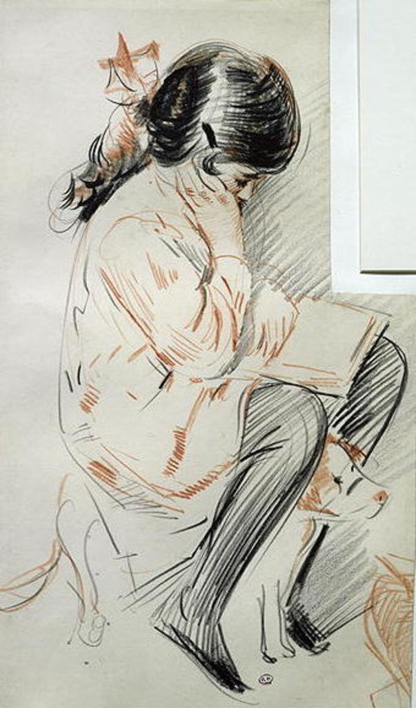 Detail of Paulette Reading Sitting on her Toy Dog by Paul Cesar Helleu