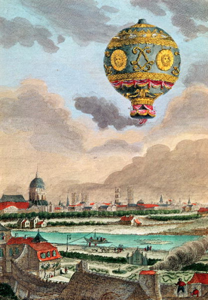 View from the terrace of Monsieur Franklin at Passy of the first flight under the direction of Monsieur de Montgolfier by French School