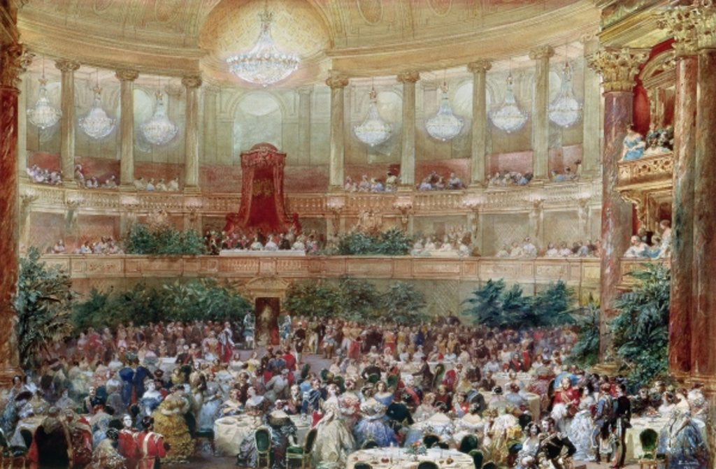 Detail of Dinner in the Salle des Spectacles at Versailles by Eugene-Louis Lami