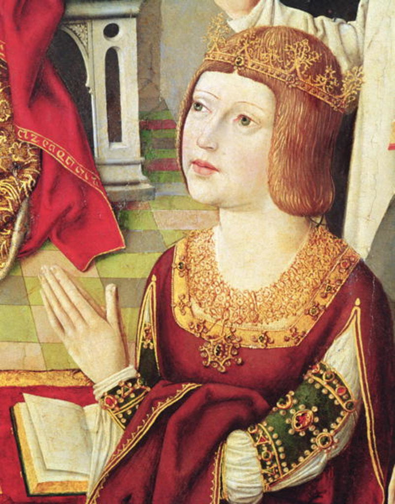 The Virgin of the Catholic Kings, detail of Isabella de Castille c.1490 by Spanish School