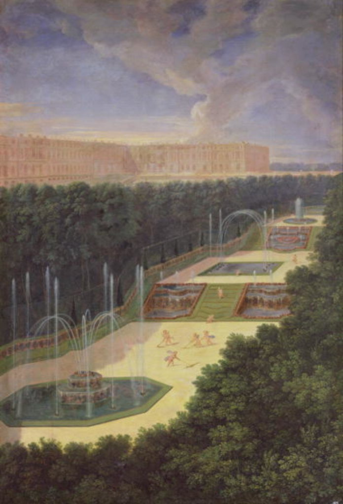 Detail of The Groves of Versailles, Perspective View of the Three Fountains with Cherubs Raking and Watering by Jean the Younger Cotelle
