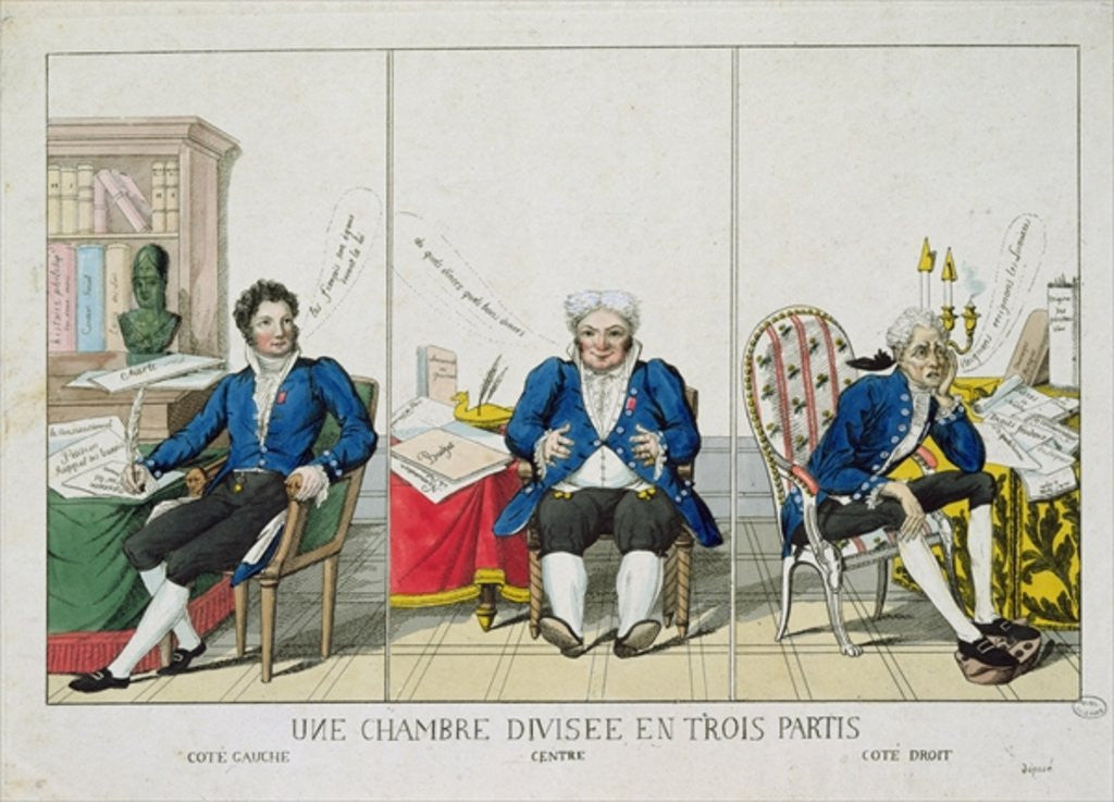 Detail of La Chambre Divisee en Trois Partis, caricature of the National Assembly by French School