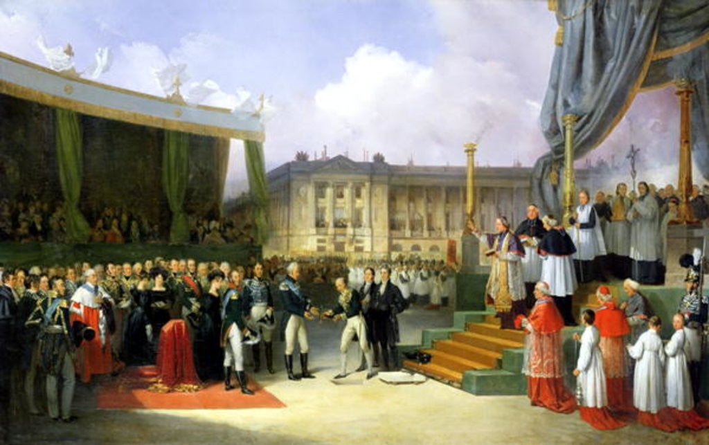 Detail of Inauguration of a Monument in Memory of Louis XVI by Charles X at the Place de la Concorde by Joseph Beaume