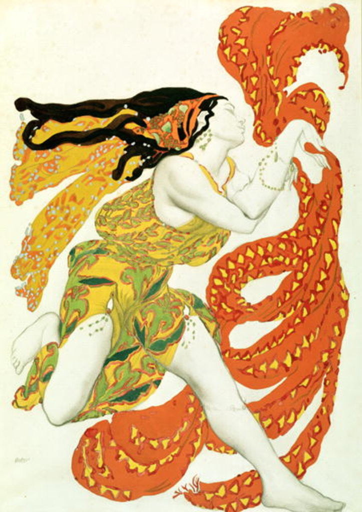 Detail of Costume design for a bacchante in 'Narcisse' by Tcherepnin by Leon Bakst