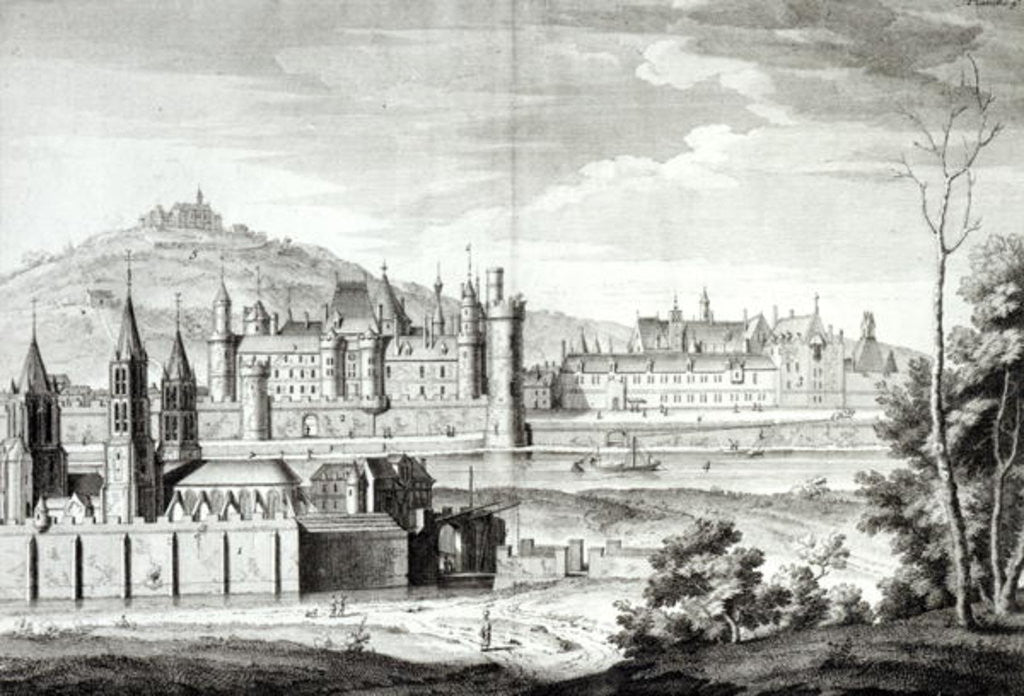 Detail of View of the Abbey of Saint-Germain-des-Pres, the Louvre, Petit Bourbon, Montmartre and the Seine in 1410, engraved by Antoine Herisset by Jean Chaufourier
