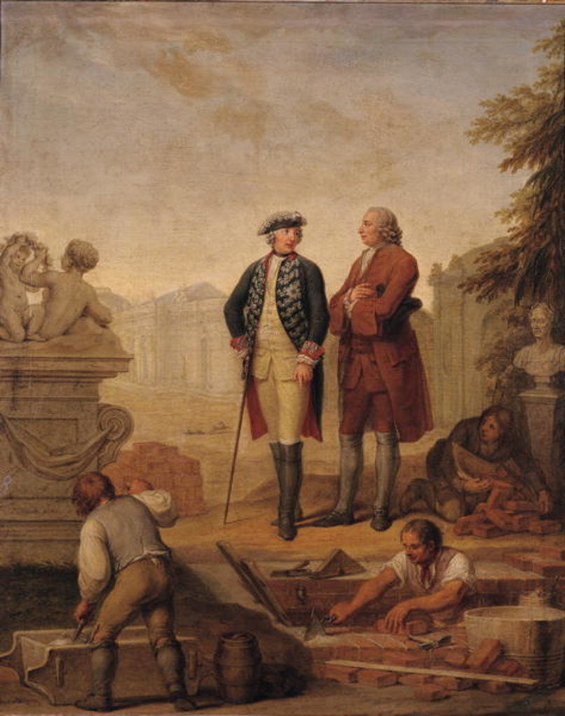Detail of King Frederick II of Prussia and the Marquis of Argens inspecting the construction of Sanssouci in Potsdam by Johann Christoph Frisch