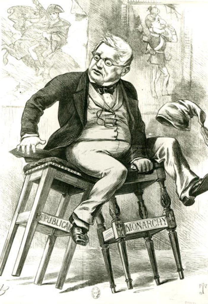 Caricature of Adolphe Thiers between two stools