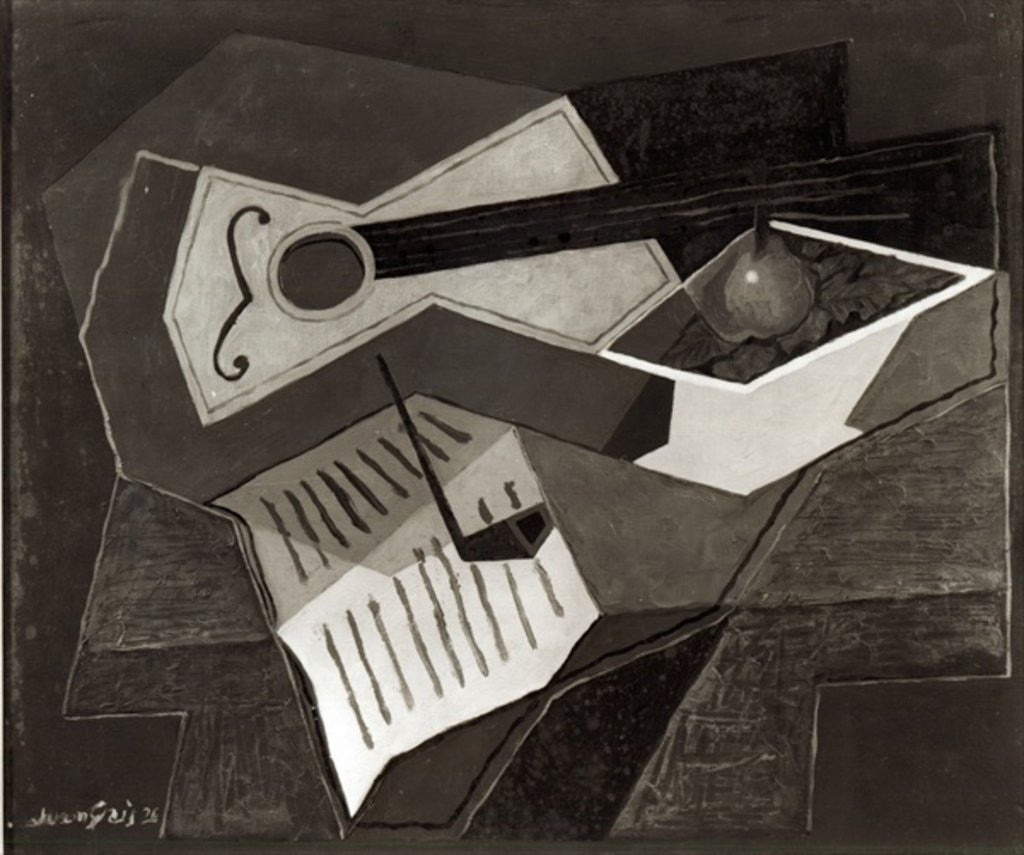Detail of Guitar and Fruit bowl by Juan Gris