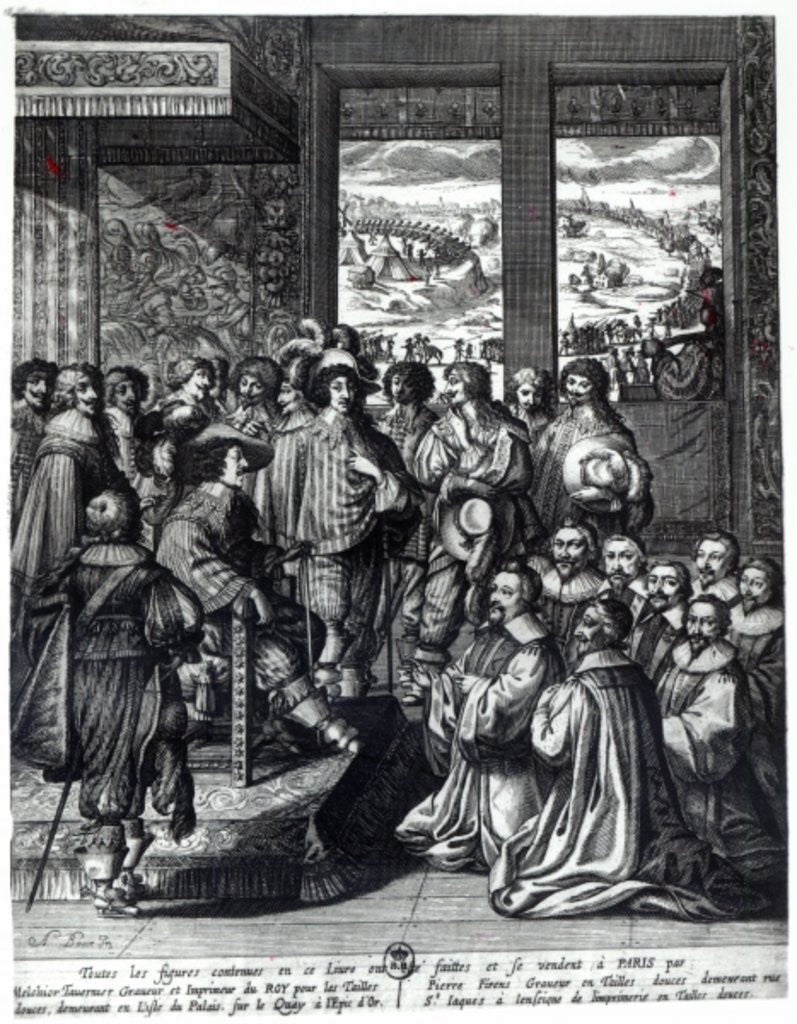 Louis XIII back from the siege of La Rochelle, congratulated by the Prevot des Marchands by Abraham Bosse