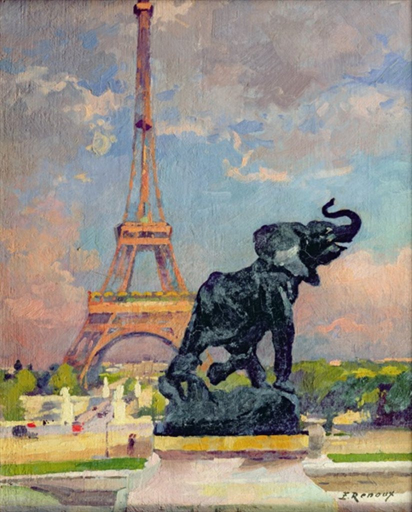 The Eiffel Tower and the Elephant by Fremiet by Jules Ernest Renoux