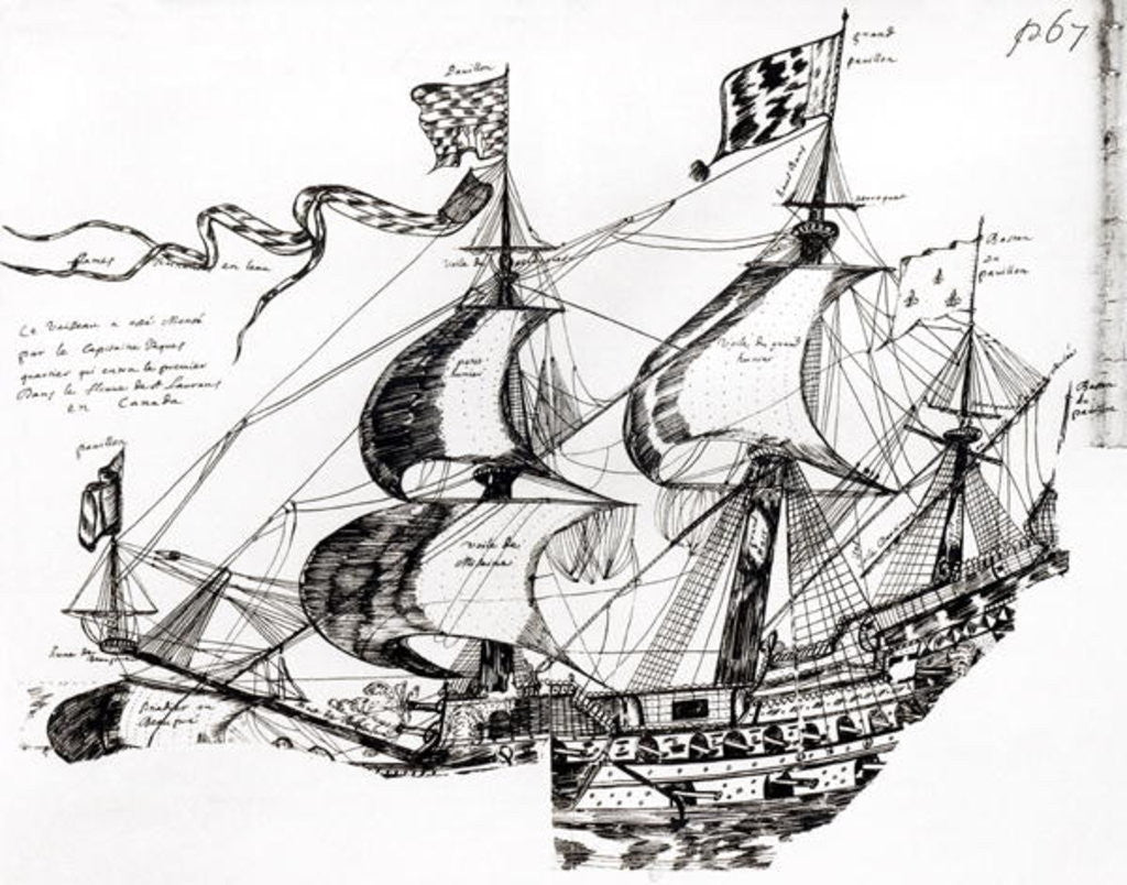 Detail of Jacques Cartier's ship by French School