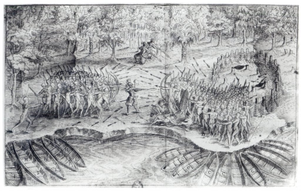 Detail of Fighting of Hurons by French School