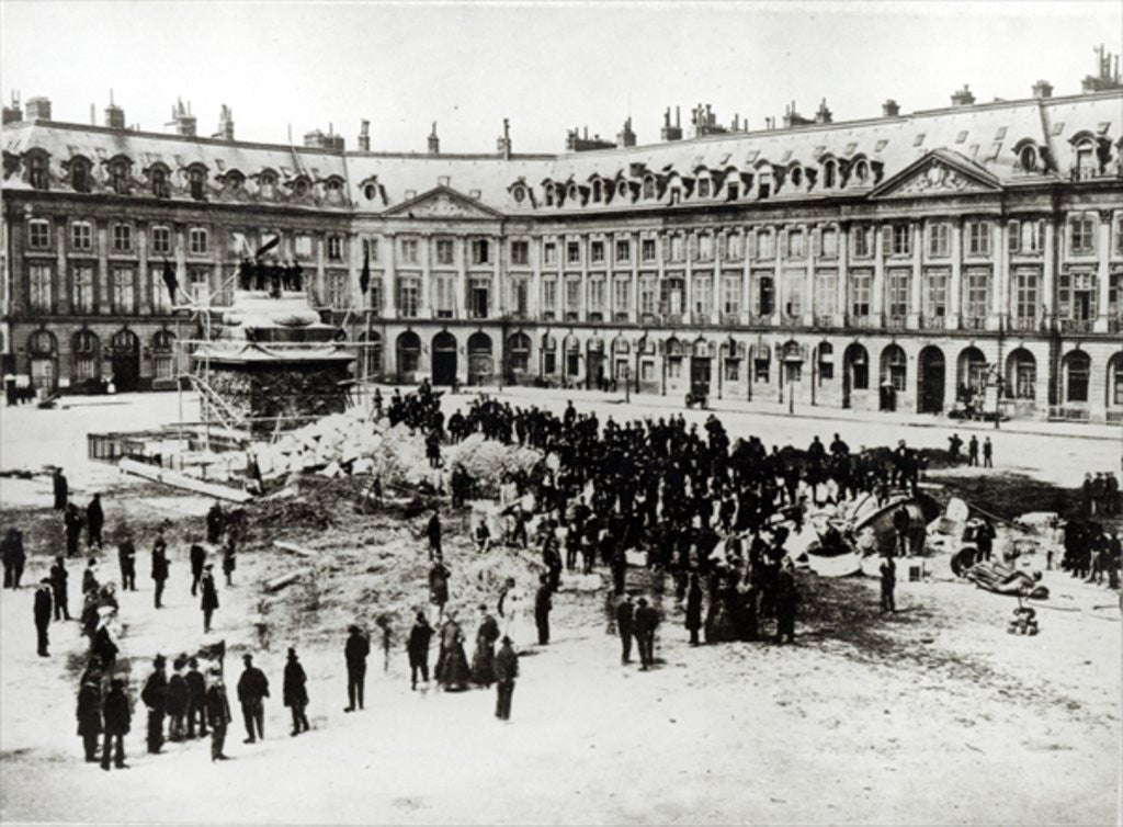 Detail of Destruction of the Vendome Column during the Commune by French Photographer
