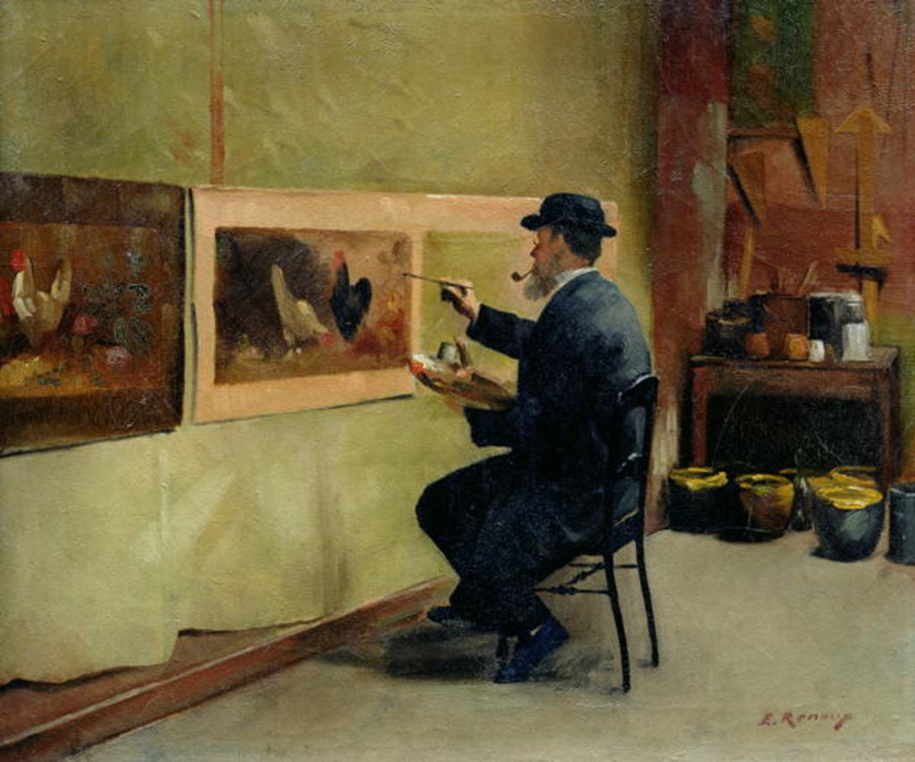 Detail of Charles Philippe Gevens, father-in-law of the artist, painting in his studio 21, avenue d'Eylau by Jules Ernest Renoux