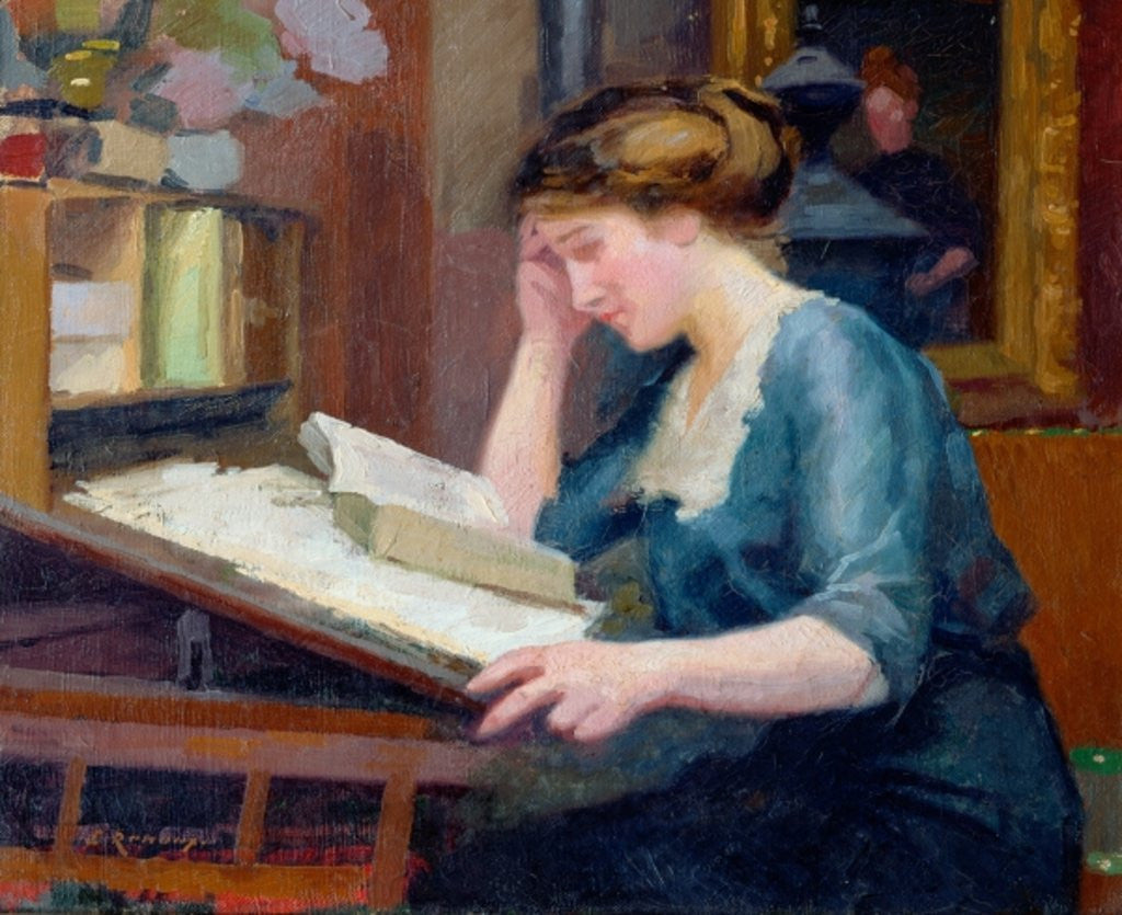 Detail of Reading by Jules Ernest Renoux