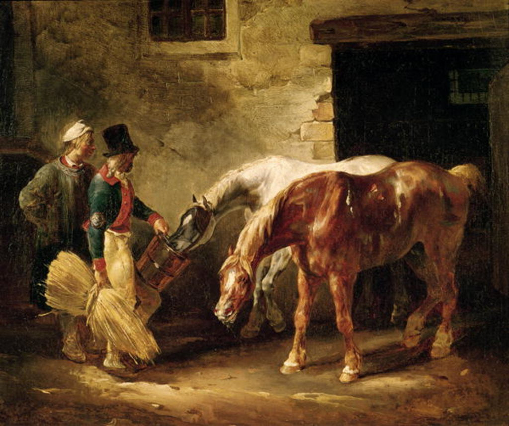 Two Post Horses at the Door of a Stable