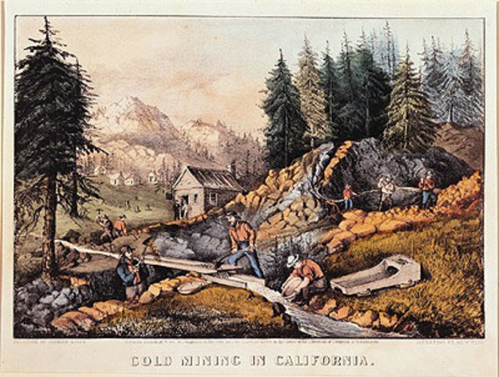 Detail of Gold Mining in California by American School