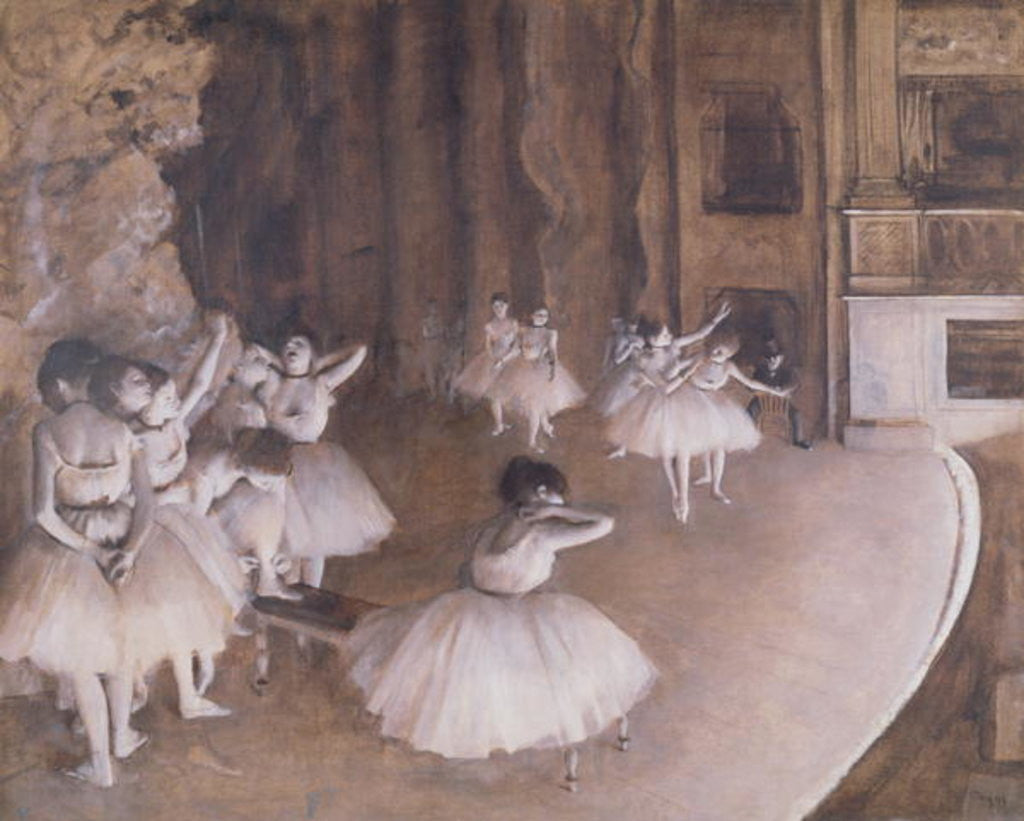 Detail of Ballet Rehearsal on the Stage by Edgar Degas