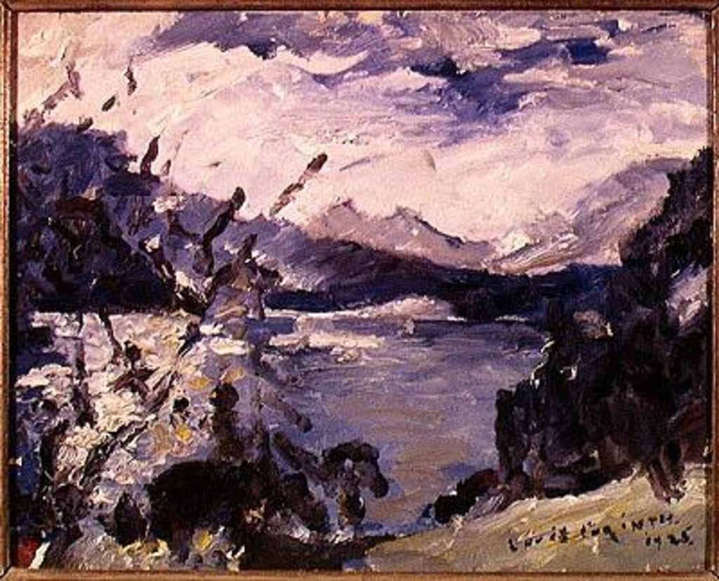 Detail of Lake Walchen Surrounded by Mountains by Lovis Corinth