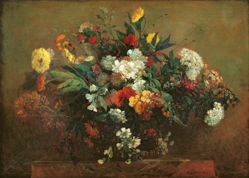 Detail of Flowers by Ferdinand Victor Eugene Delacroix