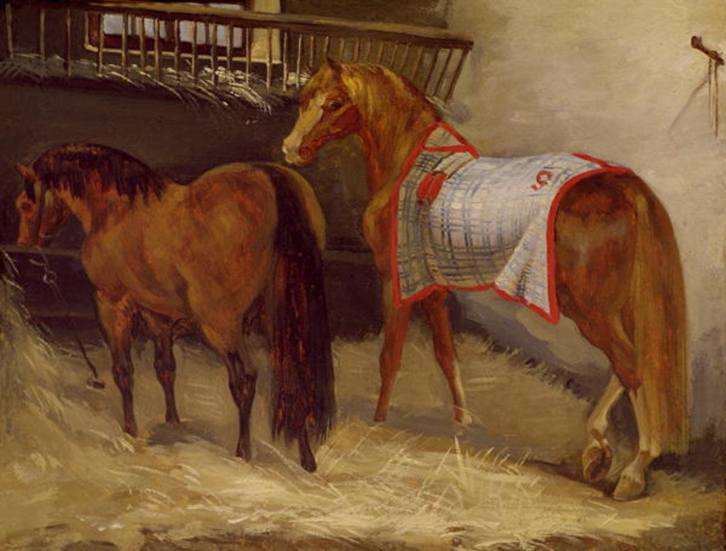 Detail of Horses in the Stables by Theodore Gericault