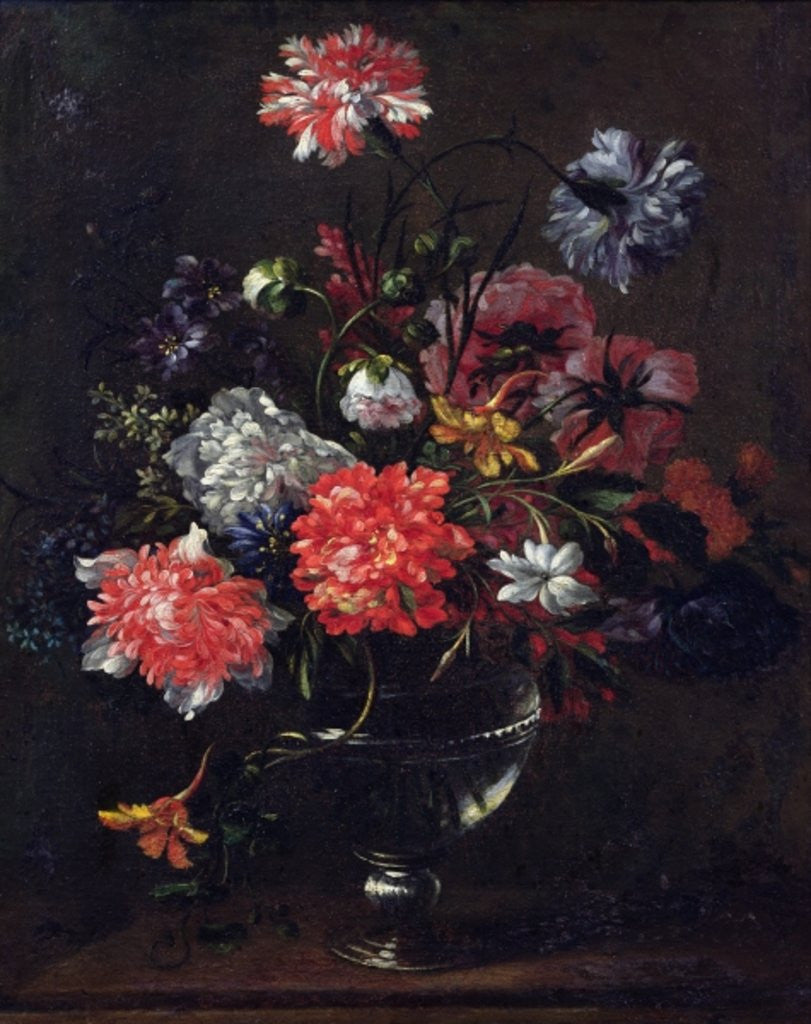 Detail of Flowers in a Glass Vase by Nicolas Baudesson