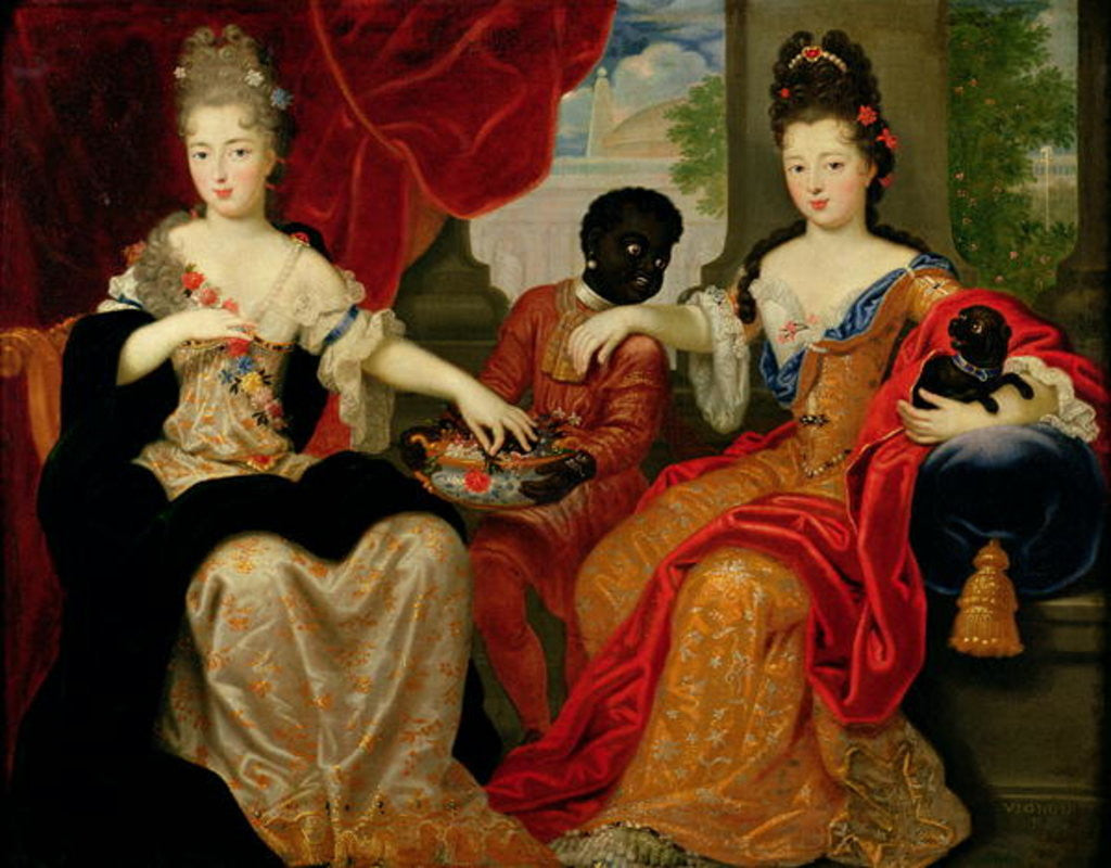 Detail of Portrait of Francoise-Marie de Bourbon and Louise-Francoise de Bourbon by Philippe Vignon