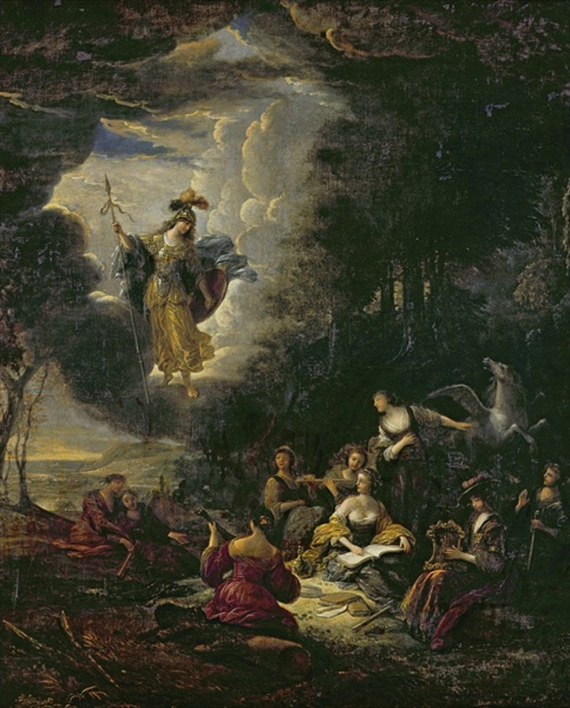 Detail of Athena visiting the Muses by Jacob Willemsz de Wet or Wett