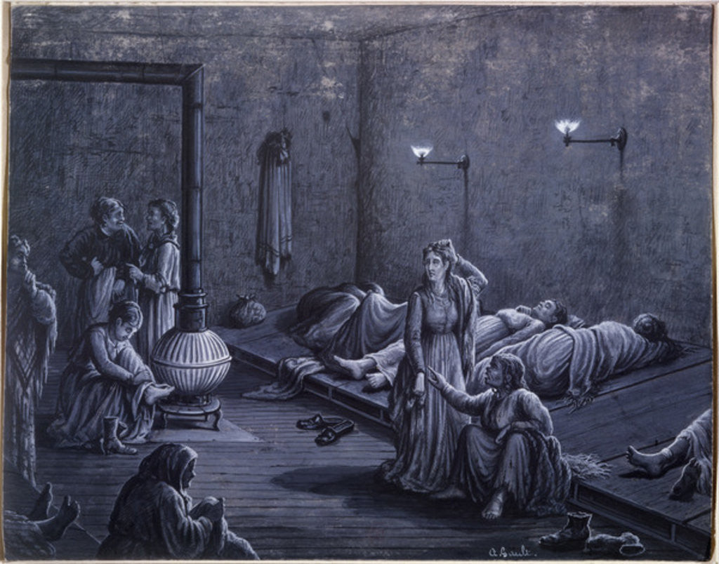 Detail of Interior of a Night Shelter for Poor Women by A. Gault