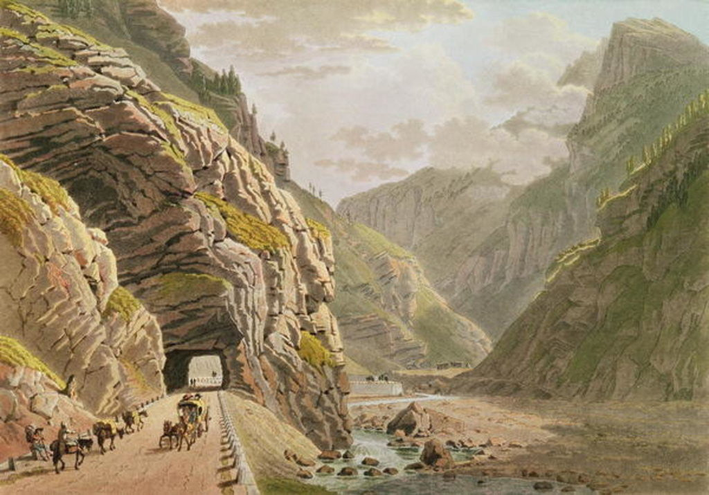 Detail of View of the Galerie d'Algaby near the Valais Border by Mathias Gabriel Lory