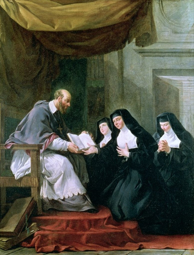 Detail of St. Francois de Sales Giving the Rule of the Visitation to St. Jeanne de Chantal by Noel Halle