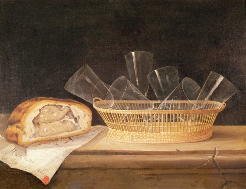 Detail of Basket of Glasses and a Meat Pie by Sebastian Stoskopff