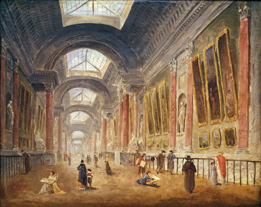 Detail of The Grande Galerie of the Louvre by Hubert Robert