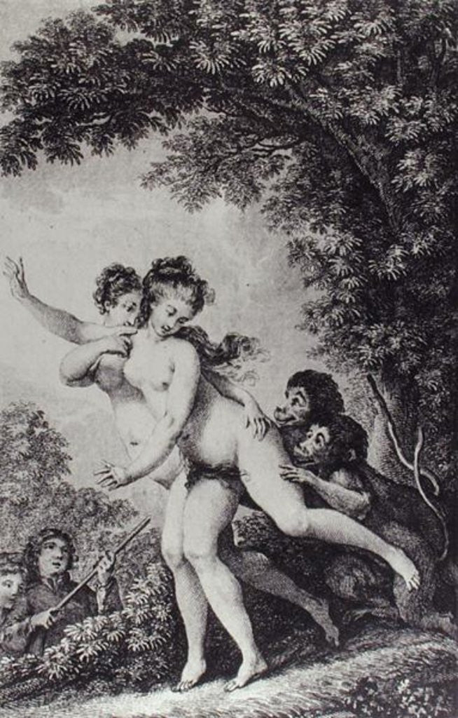 'The cries proceeded from two young women who were tripping disrobed among the mead, while two monkeys followed close at their heels biting at their limbs'