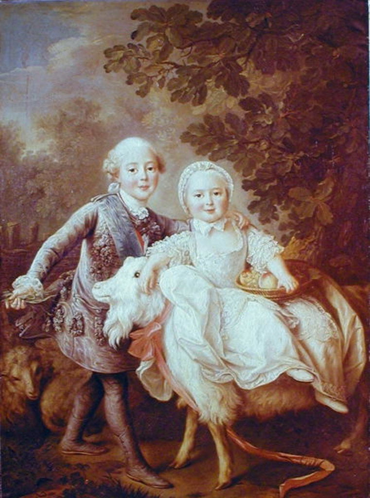 Charles of France Count of Artois and his Sister, Clothide by Francois-Hubert Drouais