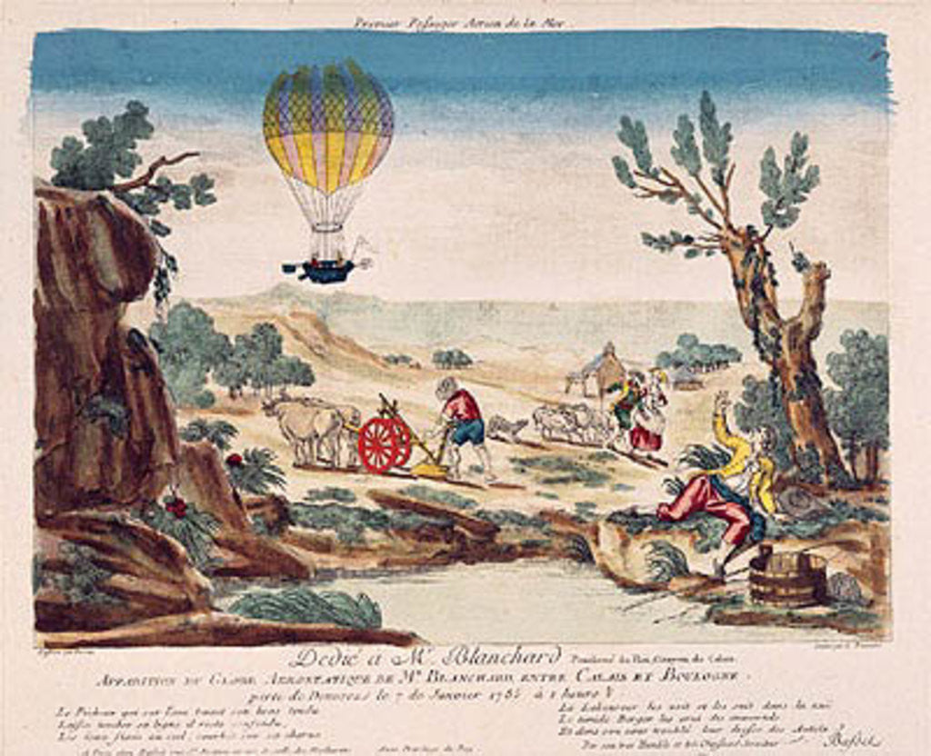 Detail of Appearance of the Hot-Air Balloon of Jean Pierre Blanchard between Calais and Boulogne by French School