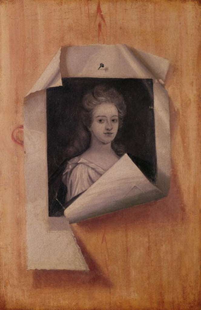 Detail of Trompe l'Oeil Portrait of a Lady by Edwaert Colyer or Collier